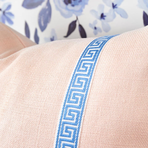 Blush Linen with Blue Greek Key