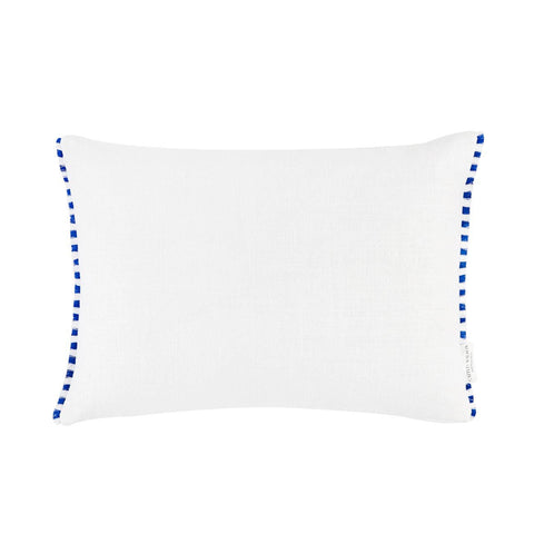 White Linen with Striped Fringe Pillow