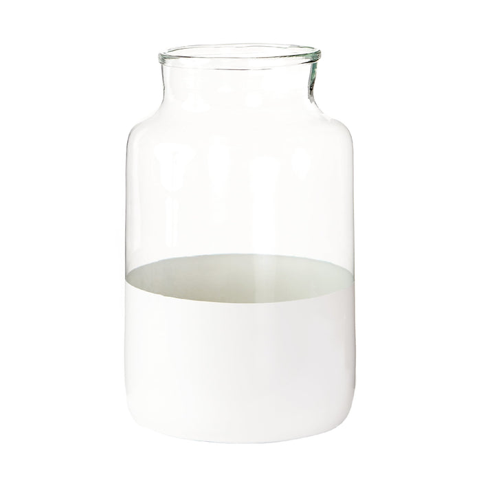 Large White Colorblock Vase