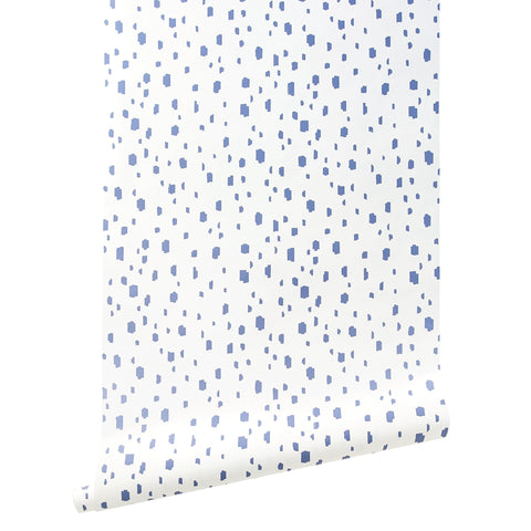 French Blue Spotted Wallpaper