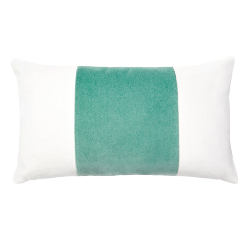 Velvet Broad Stripe Pillow In Vert