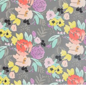 COATED CANVAS- Bridge City Blooms on Grey Swatch