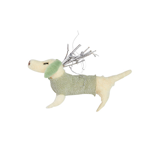 Dashing Dachsund Ornament in Green