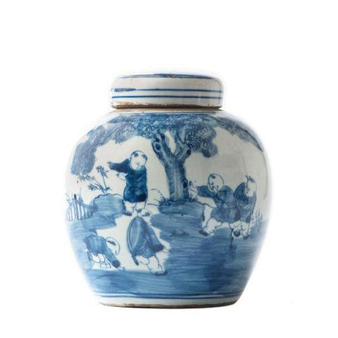 Blue and White Lidded Spice Jar