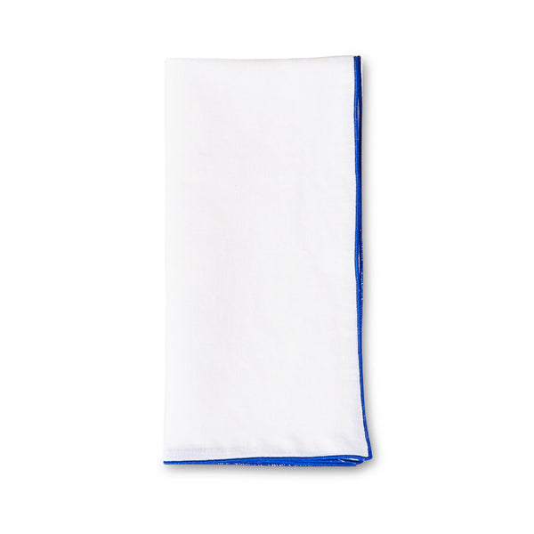 white linen napkin with blue edge stitch