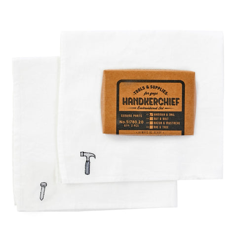 Hammer & Nail Embroidered Handkerchief
