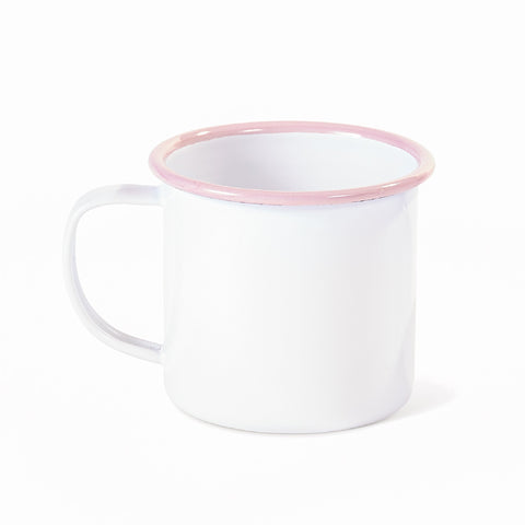 PINK AND WHITE ENAMELWARE MUG