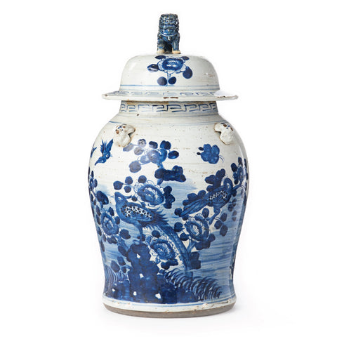 Oversized Blue and White Temple Jar