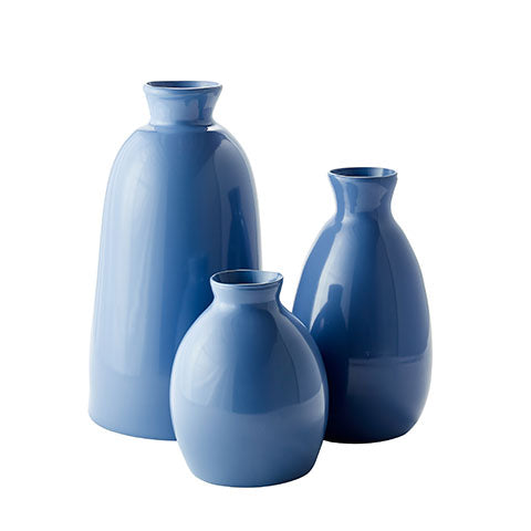 French Blue Artisan Vases