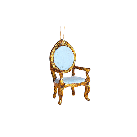 Gilded Armchair Ornament in Blue