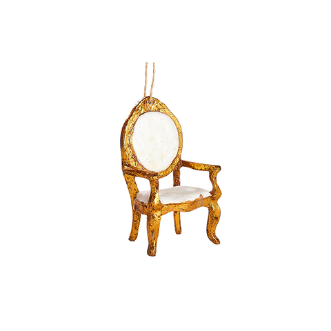 Gilded Armchair Ornament in White