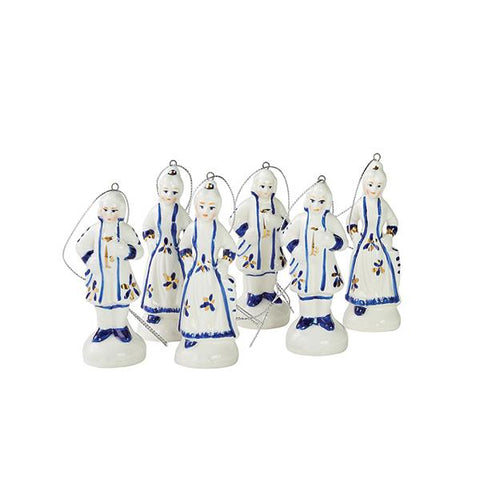 Blue & White Porcelain Doll Ornaments Set of 6