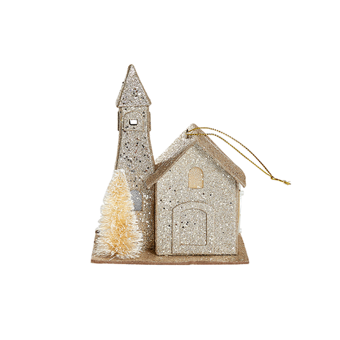Traditional Tinsel Church Ornament