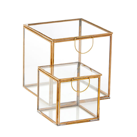 Rectangular Brass & Glass Boxes