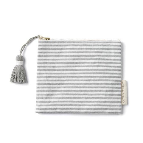 Grey Stripe Pouch with Tassel