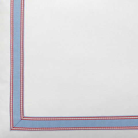 Harbour Stripe in Poppy & Pacific Linen Fabric Swatch