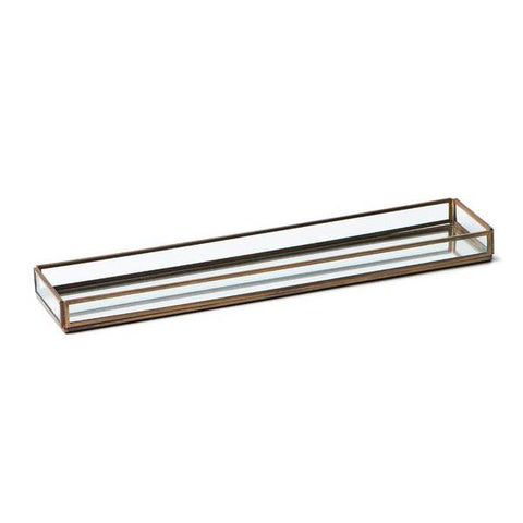 Medium Rectangular Brass & Glass Tray
