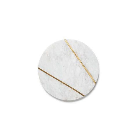 Small Round Marble Serving Plate w/Brass Inlay