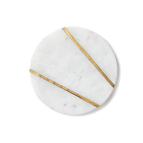 Large Round Marble Serving Plate w/Brass Inlay