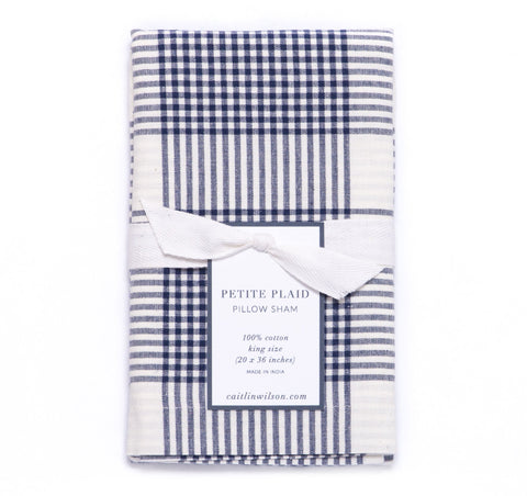 Petite Plaid Sham in Navy