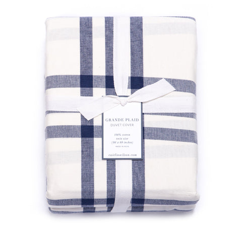 Grande Plaid Duvet Cover in Navy