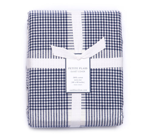 Petite Plaid Duvet Cover in Navy