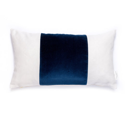 Velvet Broad Stripe Pillow in Navy