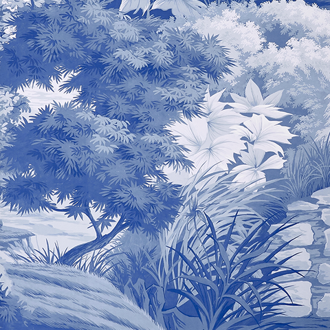 Jardin in Bleu Wallpaper Swatch