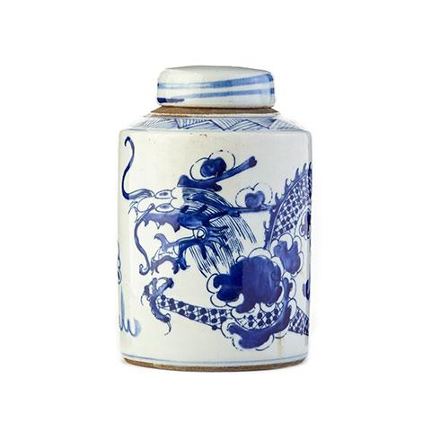 Cylindrical Small Dragon Tea Jar