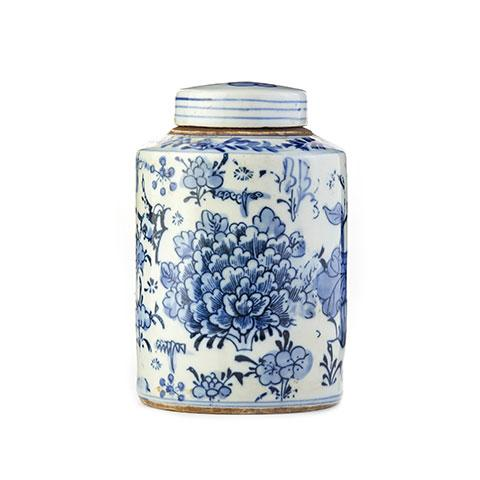 Cylindrical Small Floral Tea Jar