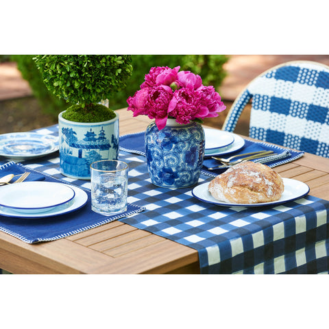 Blue and White Enamelware Dinner Plates