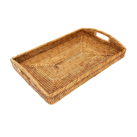 Large Woven Tray with Handles in Honey