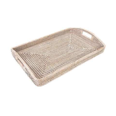 Large Woven Tray with Handles in Whitewash