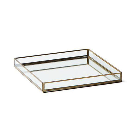Large Brass & Glass Tray