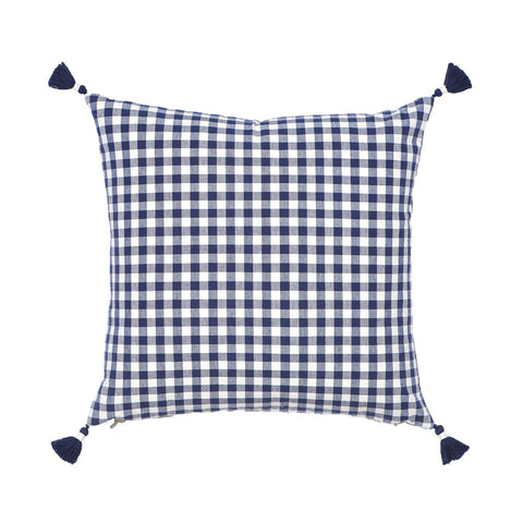 Navy Gingham Pillow