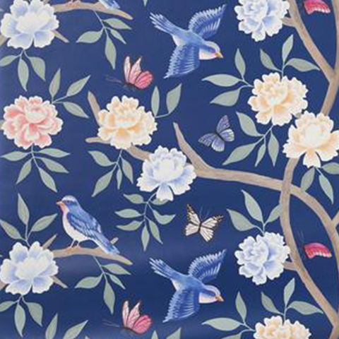 Navy Chinoiserie Wallpaper Swatch