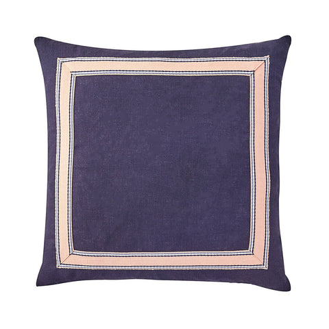 Navy & Peach Trim Pillow