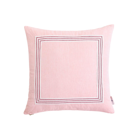 Blush Pillow with Poppy Stripe Trim