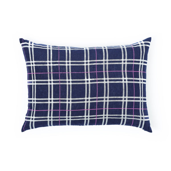 navy plaid pillow