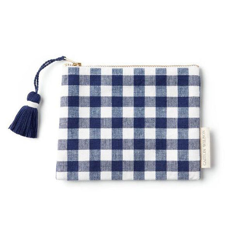 Navy Gingham Pouch with Tassel