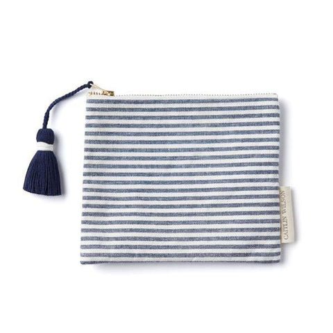 Navy Stripe Pouch with Tassel