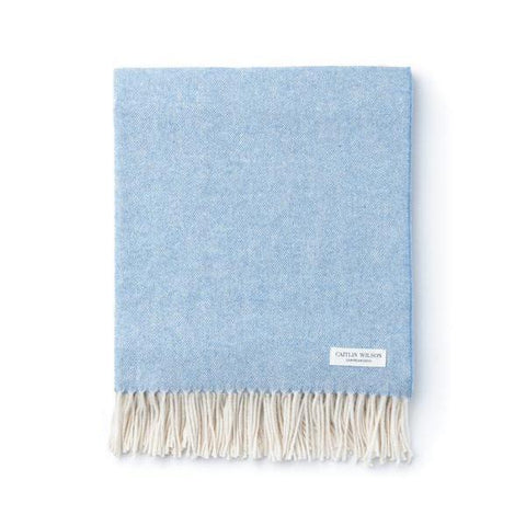 Herringbone Throw in Chambray