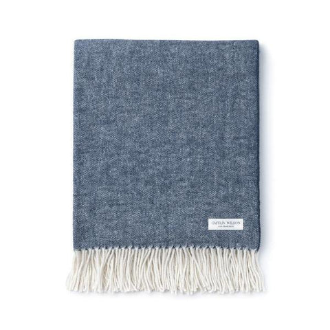 Herringbone Throw in Indigo