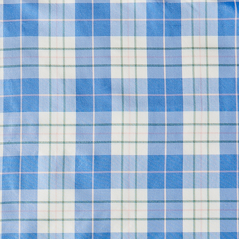 Porcelain Plaid Fabric in Silk