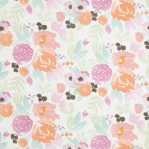 Petite Pastel Blooms on White Fabric