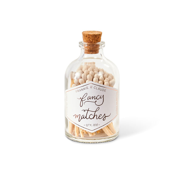 petite jar of fancy matches in white