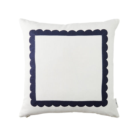 Scallop Trim Pillow in Navy