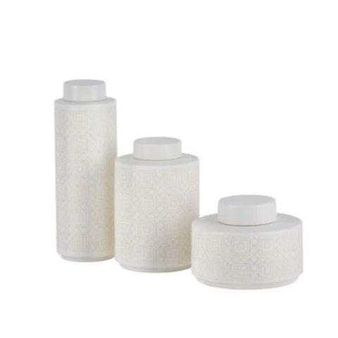 New! Geometric Lidded Jars