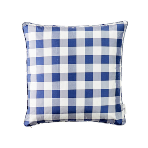 Silk Check Pillow in Royal