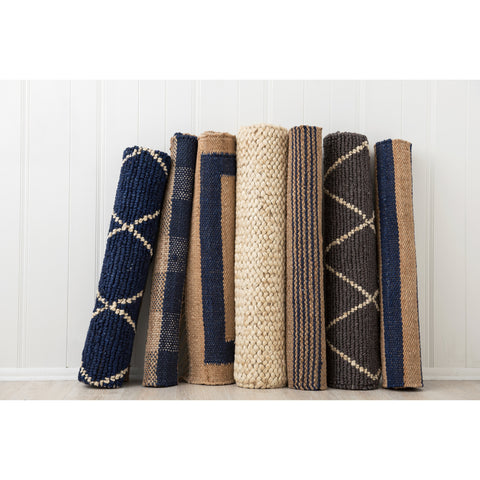 Navy and white Diamond Jute Rug